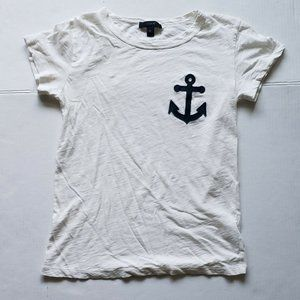 J.Crew Women Size XS T-Shirt White with Anchor